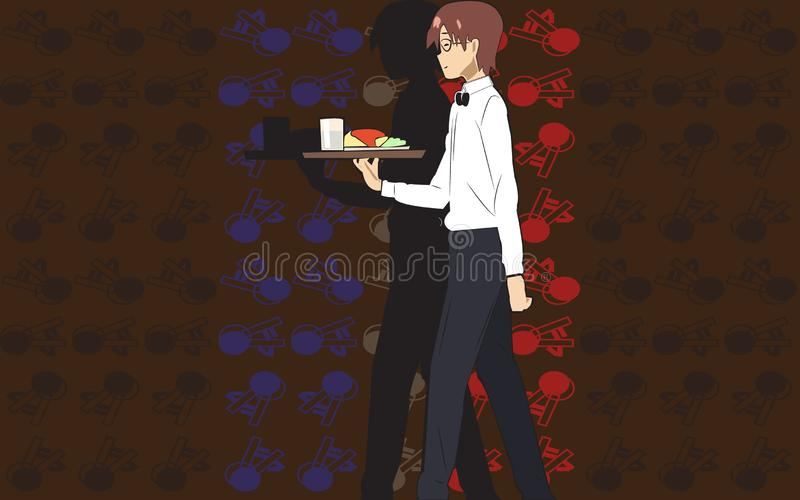 Waiter serving Vector flat illustration cartoon character on art background royalty free illustration