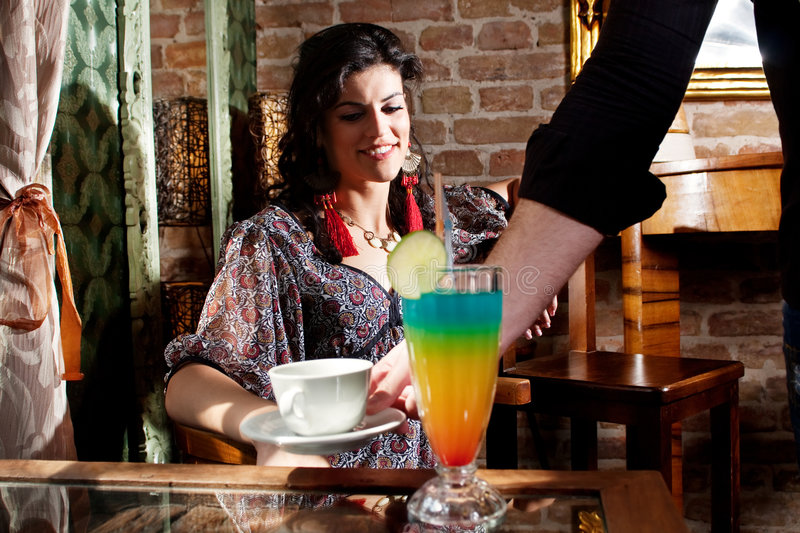 Download Waiter Serving Woman With Coffee And Beverage Stock Image - Image: 9162535