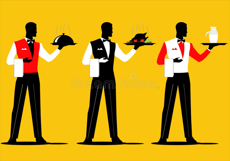 Waiter. A set of waiter holding a tray with various uniform royalty free illustration