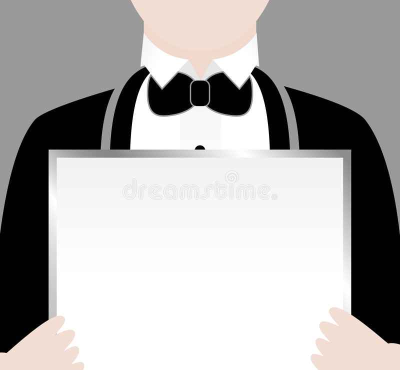 Waiter with Sign. Waiter in tuxedo with a sign stock illustration