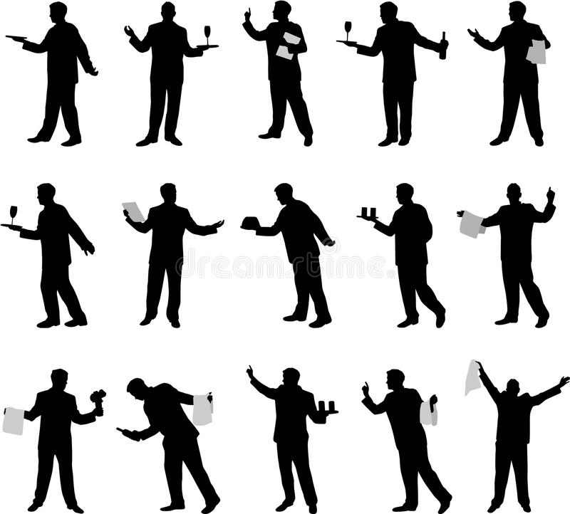 Waiter silhouettes royalty free stock image