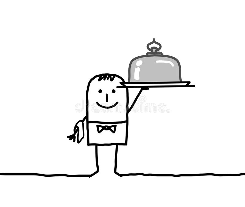 Waiter and silver dish vector illustration