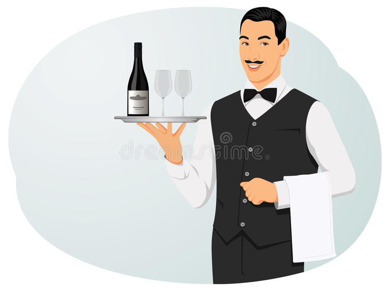 Waiter. Smiling waiter with bottle of wine and glasses on tray. Service workers and catering stock illustration