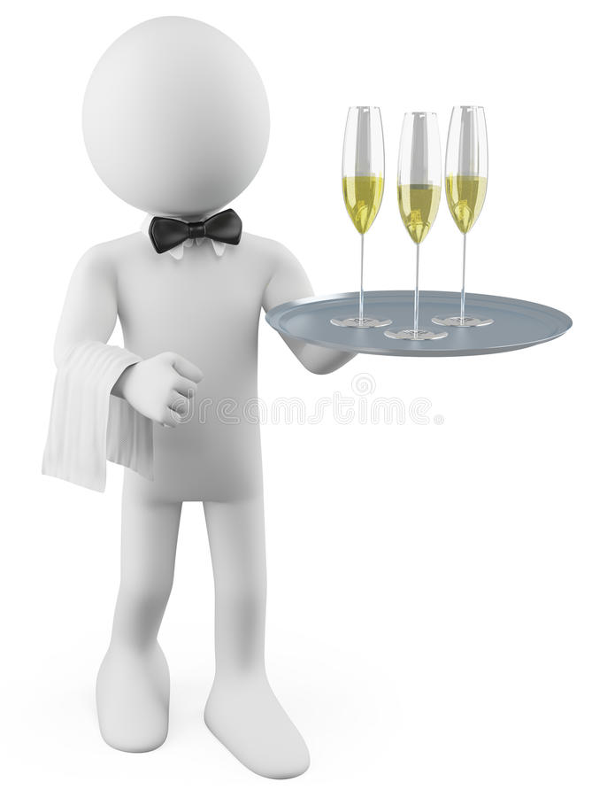 Waiter with a tray. With three glasses of champagne. Rendered on a white background with diffuse shadows vector illustration
