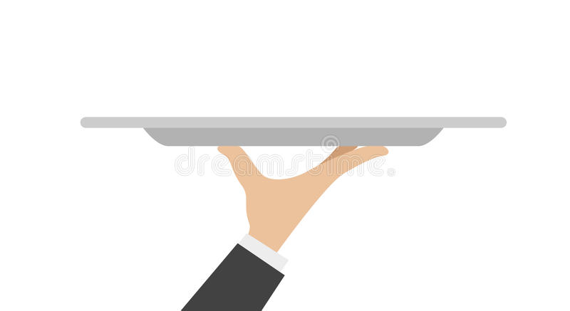 Waiter tray with hand. Isolated on white background. Vector illustration royalty free illustration