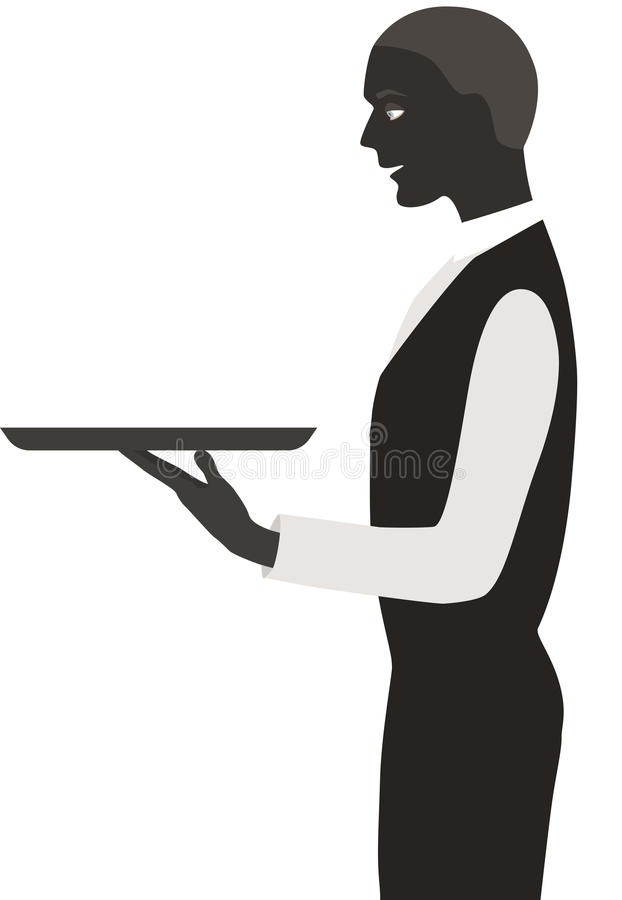 Waiter with a tray. Isolated on white vector illustration