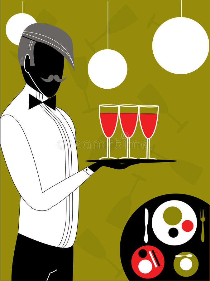 Download Waiter, vector stock vector. Image of plate, dishes, garson - 7931979