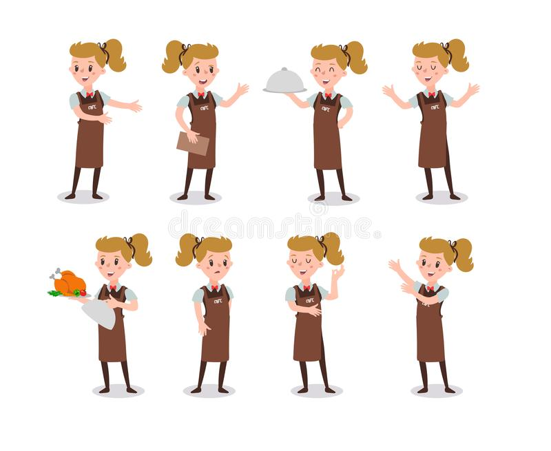 Set of woman waiter wearing the uniform holding a dish of chicken cartoon character. Set of fun flat cartoon person. Isolated on w stock illustration