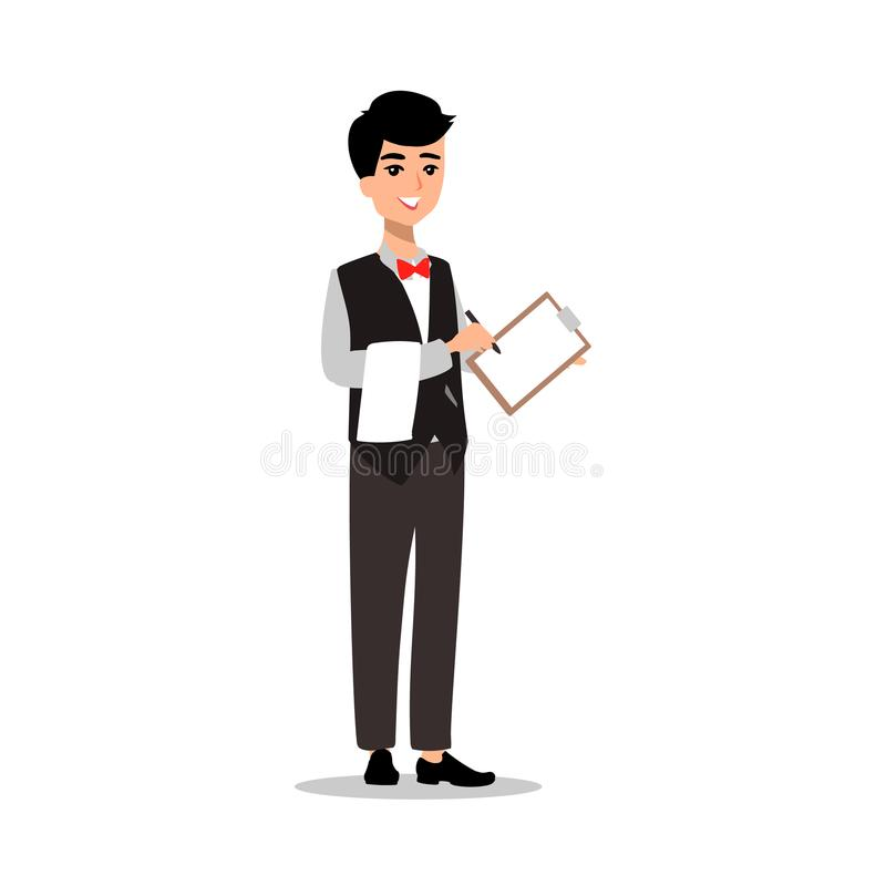 Waiter wearing the uniform holding a dish of chicken cartoon character. Set of fun flat cartoon person. Isolated on white backgrou stock illustration