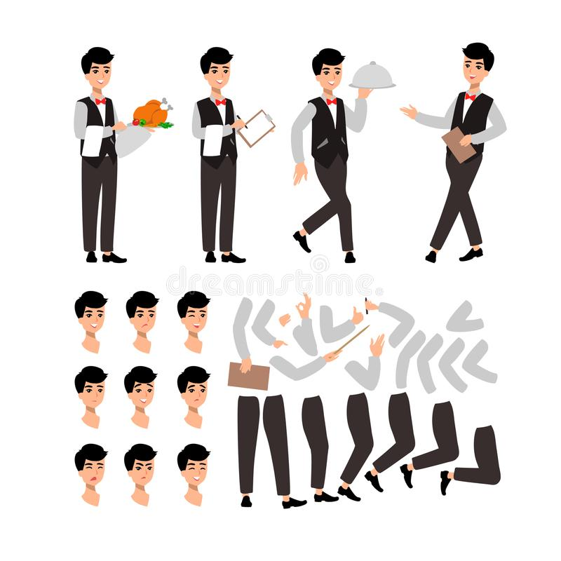 Waiter wearing the uniform holding a dish of chicken cartoon character. Set of fun flat cartoon person. Isolated on white backgrou royalty free illustration
