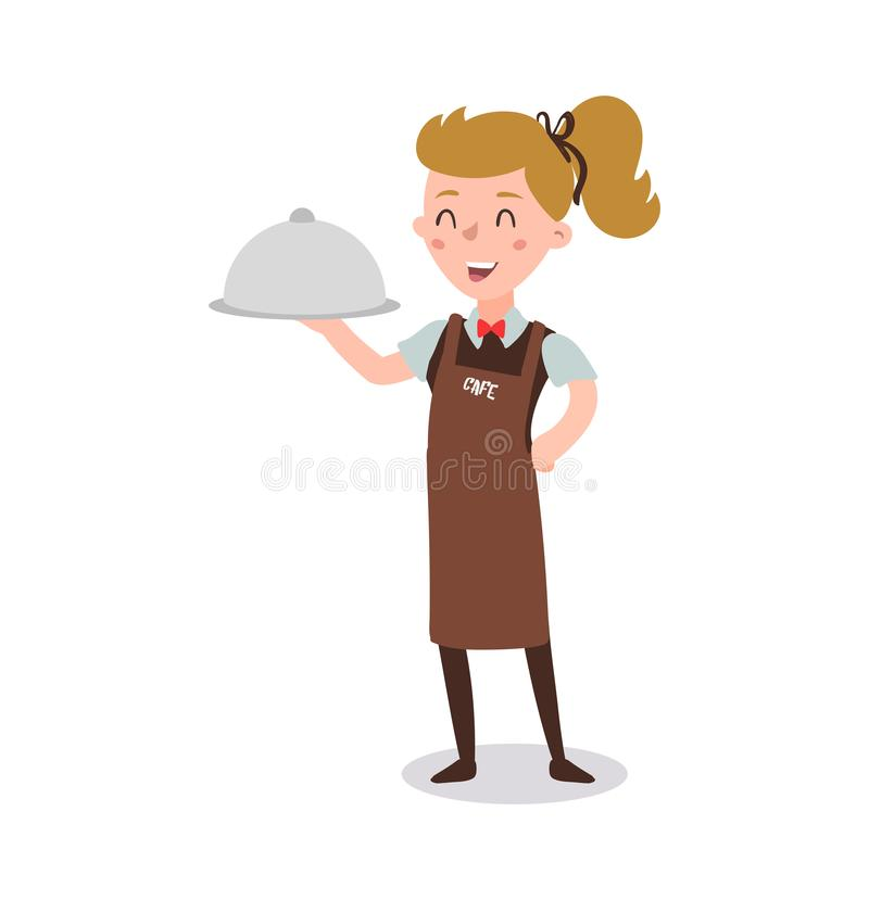 Waiter woman wearing the uniform holding a dish of chicken cartoon character. Set of fun flat cartoon person. Isolated on white ba vector illustration