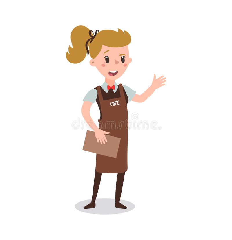 Waiter woman wearing the uniform holding a dish of chicken cartoon character. Set of fun flat cartoon person. Isolated on white ba stock illustration
