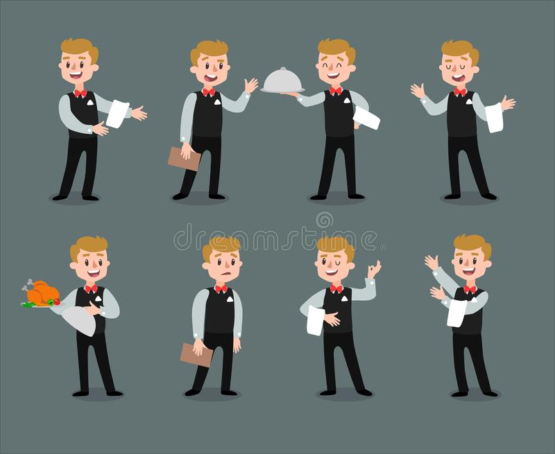 Waiter wearing the uniform holding a dish of chicken cartoon character. Set of fun flat cartoon person. Isolated on royalty free illustration