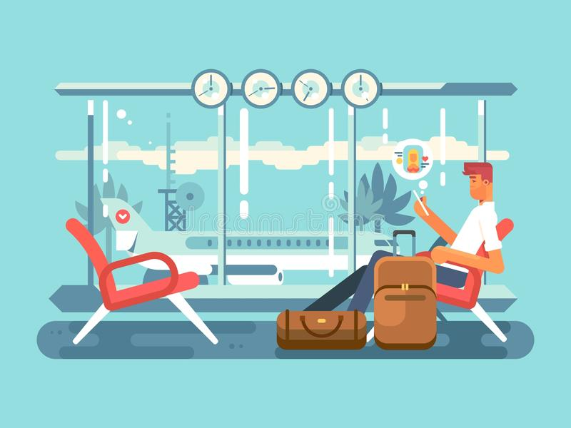 Waiting at airport of departure stock illustration