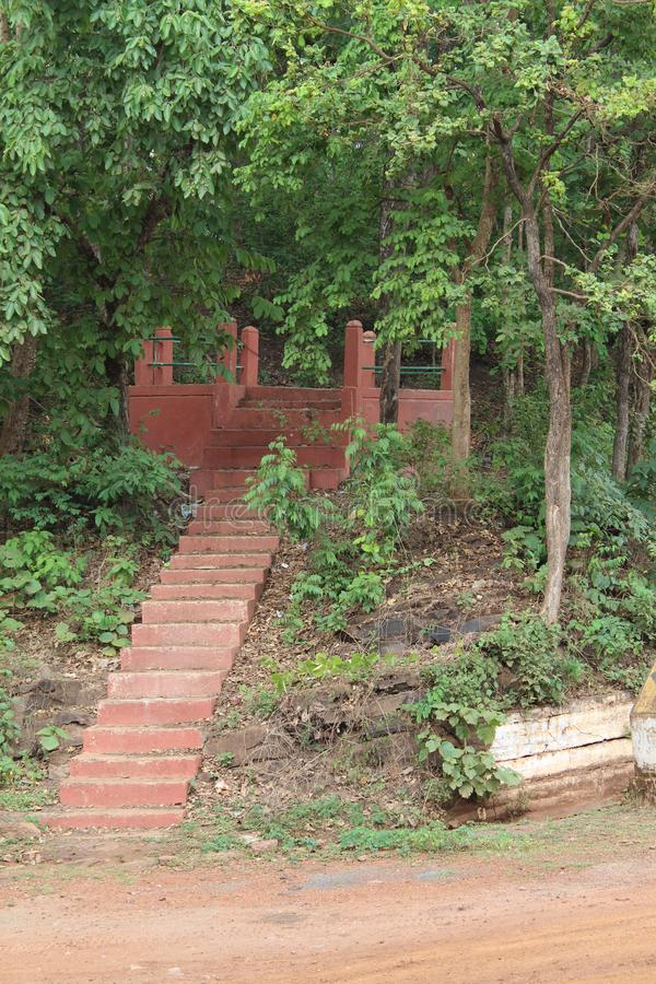 Waiting area beside Road. Picture of a waiting area made beside of tourism route of tirathgarh waterfall stock photography