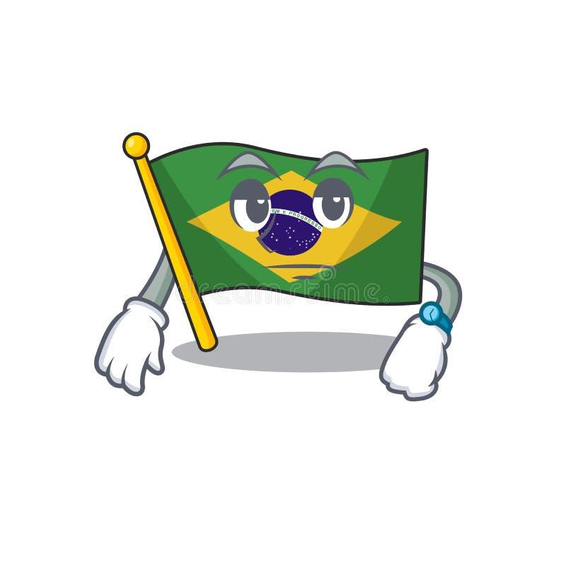 Waiting brazil flag kept in mascot drawer. Illustration vector royalty free illustration