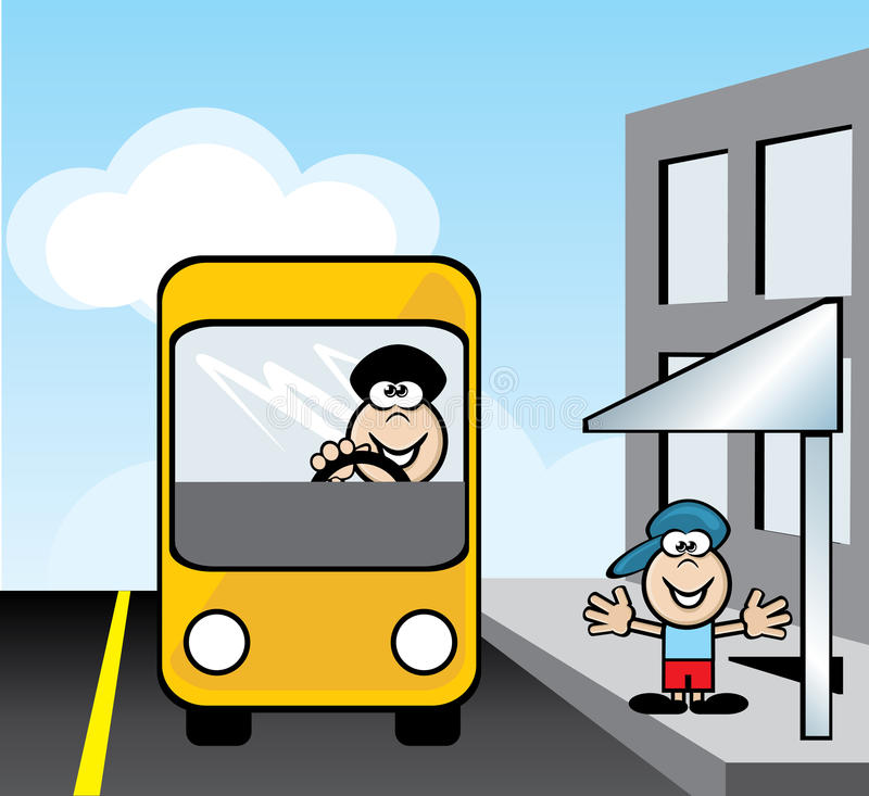 Waiting for the bus stock illustration