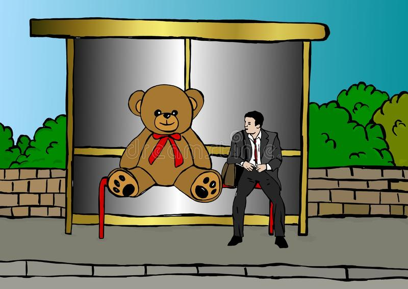 Waiting at the bus stop. Funny image of business man waiting at the bust stop with big teddy bear