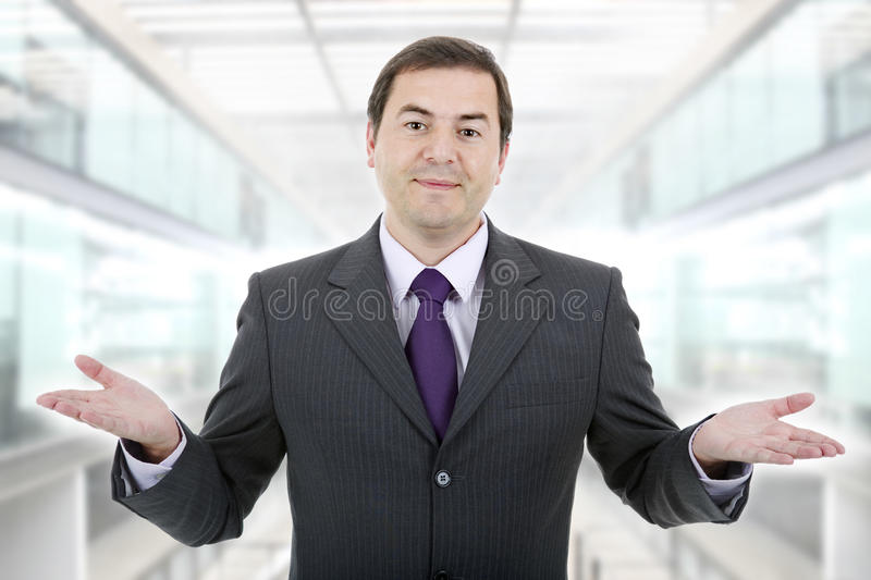 Waiting. Businessman showing his hands, at the office royalty free stock photo