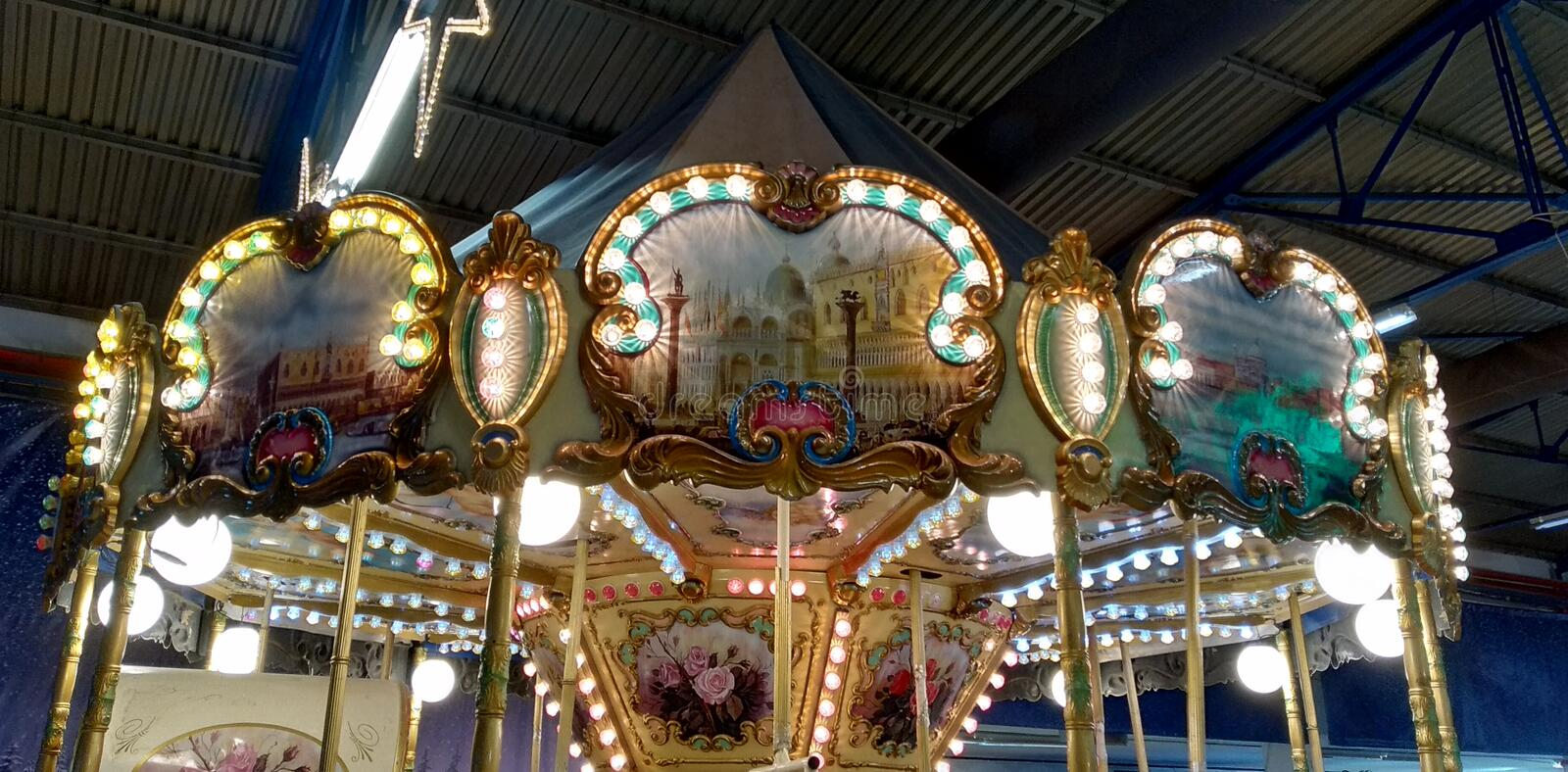 Waiting for the carousel stock images