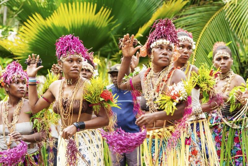 Exotic Dance ceremony between tropical vegetation, Solomon Islands royalty free stock image