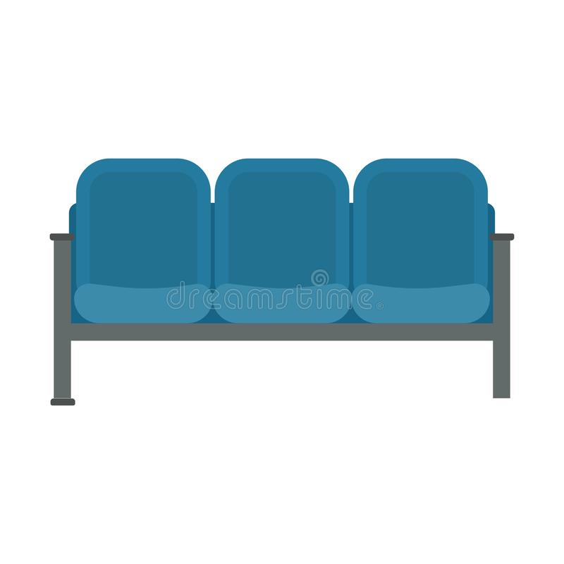 Waiting chair blue vector icon business room furniture airport flat interior. Cartoon office hall area seat airplane.  stock illustration