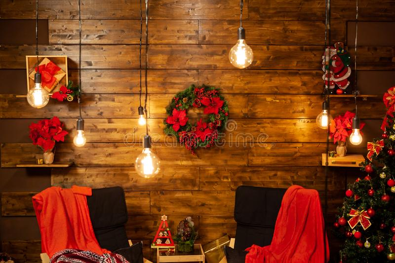 Waiting for the Christmas story in this cozy seats. royalty free stock photo