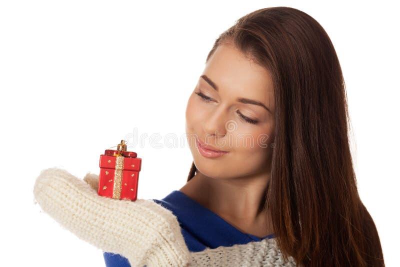 Waiting for Christmas to come. Young girl waiting for Christmas to come royalty free stock image