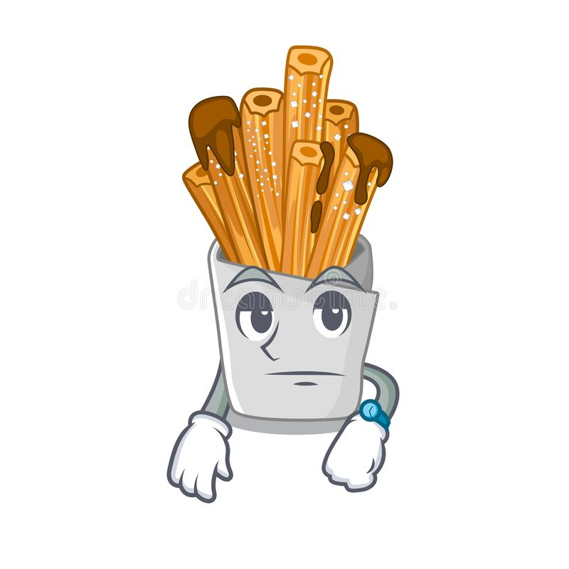 Waiting churros in the wooden character jar. Vector illustration stock illustration
