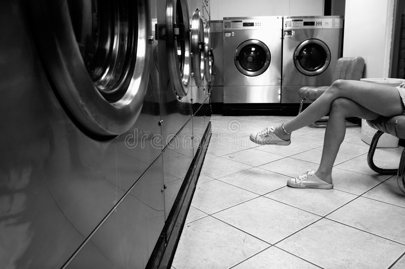 Waiting for the clothes to dry stock image