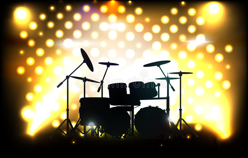 Waiting for concert. Vector drum kit on stage before concert, eps10 file, gradient mesh and transparency used vector illustration