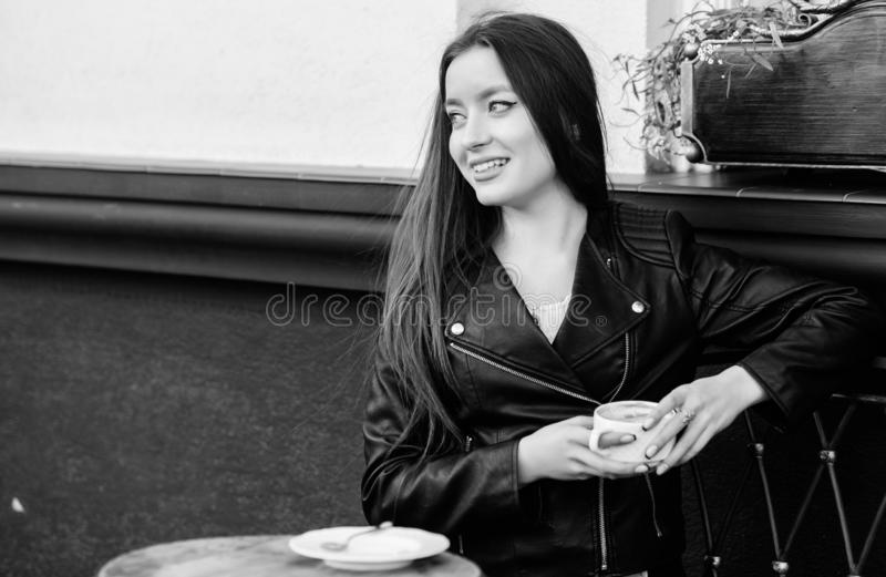 Waiting for date. good morning. Breakfast time. girl relax in cafe. Business lunch. summer. Early morning. Meeting in stock images