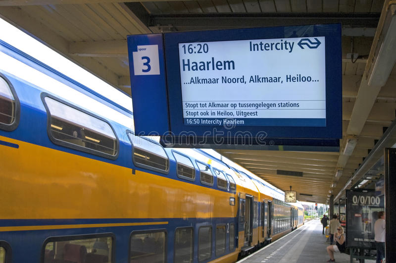 Waiting Dutch Railways train in station Hoorn. Netherlands, province North-Holland, city, small town Hoorn: railway station of the Dutch Railways, railway Hoorn stock photo