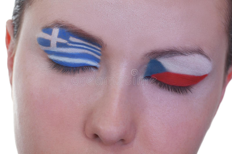 Waiting for exciting match, group A. Young girl is dreaming about score in match between Greece and Czech Republic: EURO 2012, group A, 12th of June. Focus on stock image