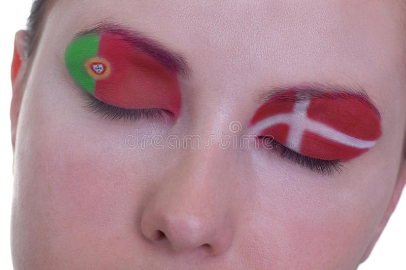 Waiting for exciting match, group B. Young girl is dreaming about score in match between Portugal and Denmark: EURO 2012, group B, 13th of June. Focus on royalty free stock images