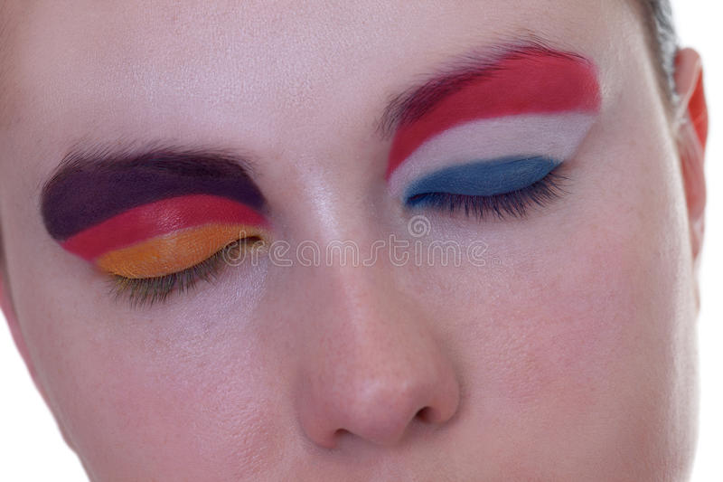 Waiting for exciting match, group B. Young girl is dreaming about score in match between Germany and Netherlands: EURO 2012, group B, 13th of June. Focus on royalty free stock image