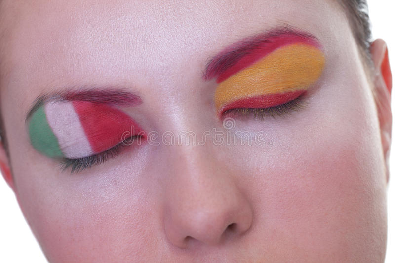 Waiting for exciting match, group C. Young girl is dreaming about score in match between Spain and Italy: EURO 2012, group C, 10th of June. Focus on eyelashes stock images