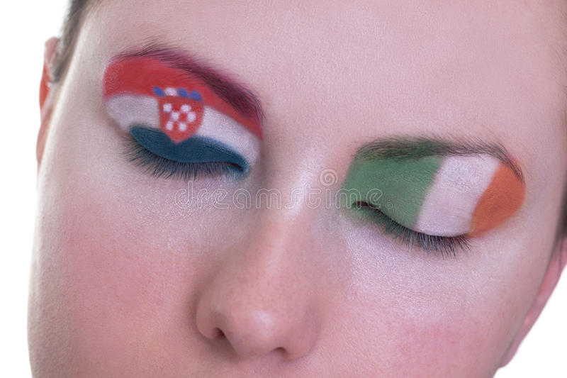 Waiting for exciting match, group C. Young girl is dreaming about score in match between Croatia and Ireland: EURO 2012, group C, 10th of June. Focus on stock photos