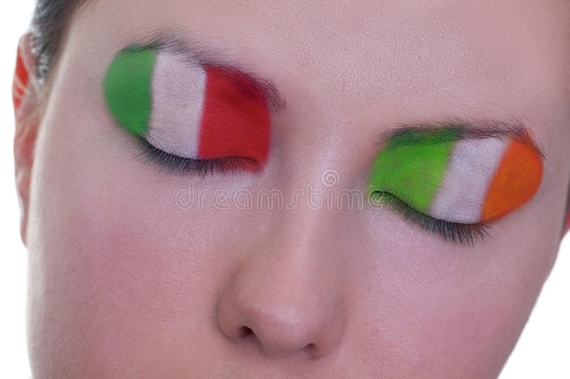 Waiting for exciting match, group C. Young girl is dreaming about score in match between Italy and Ireland: EURO 2012, group C, 18th of June. Focus on eyelashes stock photo