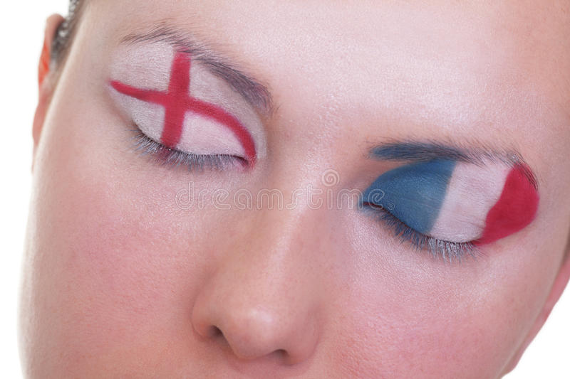 Waiting for exciting match, group D. Young girl is dreaming about score in match between England and France: EURO 2012, group D, 11th of June. Focus on eyelashes stock image