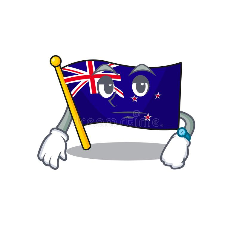 Waiting flag new zealand in cartoon drawer. Vector illustration stock illustration