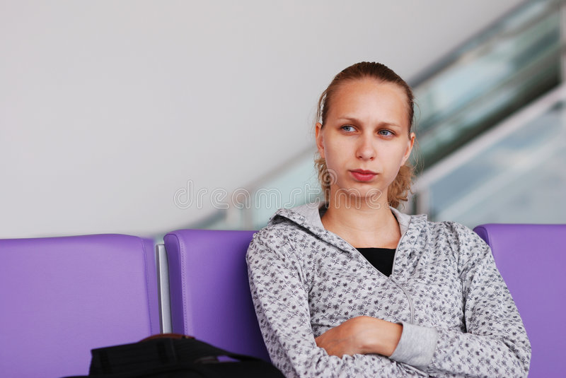 Waiting for a flight royalty free stock image