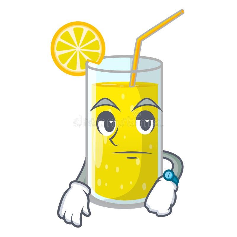 Waiting fresh lemon juice in glas cartoon royalty free illustration