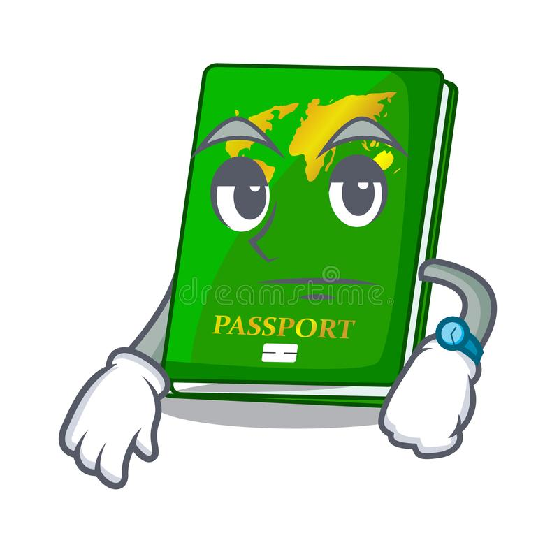 Waiting green passport on the mascot table. Vector illustration stock illustration