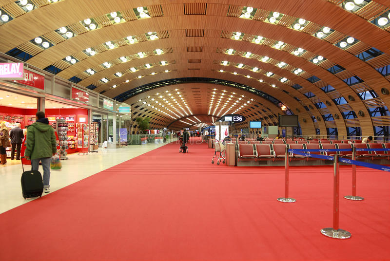 Waiting hall in airport Charles de Gaulle stock photography