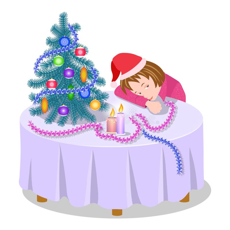 Waiting for the holiday. A lonely girl before the New year is dozing at the table near the Christmas tree royalty free stock image
