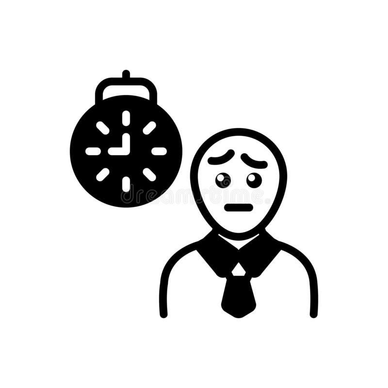 Black solid icon for Waiting, expectation and hope. Black solid icon for Waiting, person, prospect,  expectation and hope stock illustration