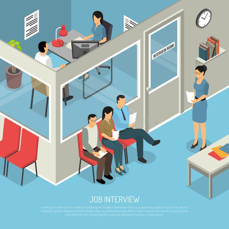 Waiting For Interview Composition vector illustration