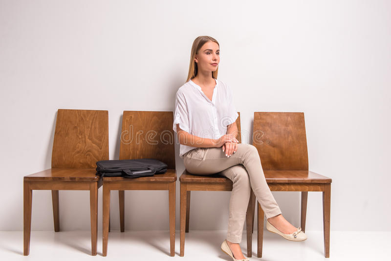 Waiting job interview royalty free stock photography