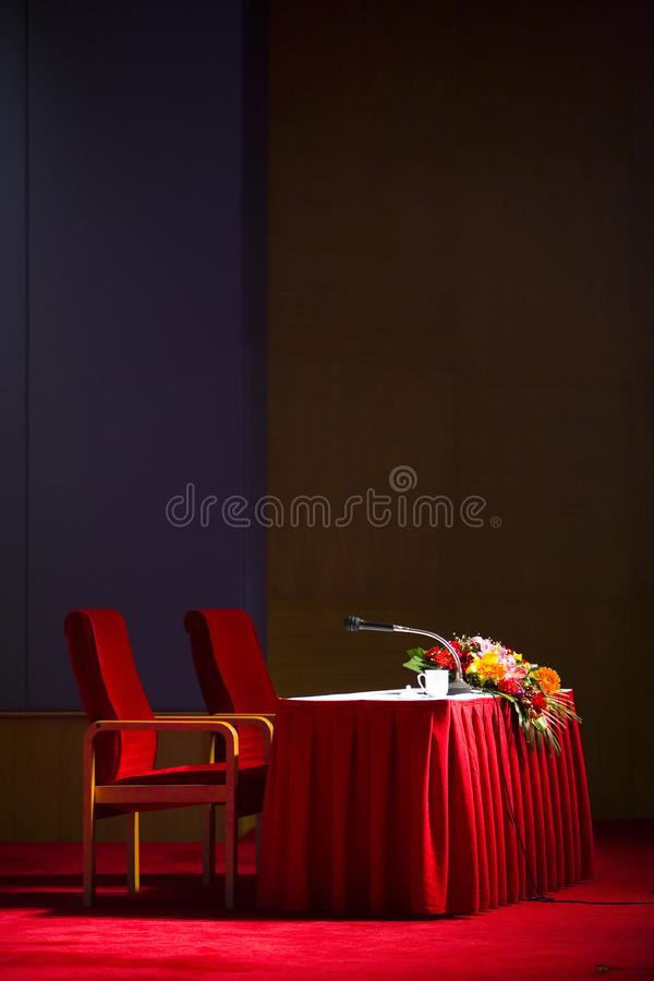 Waiting lecture stage stock images